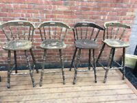 Set Of 4 Original Pub Bar Stools For Restoration