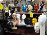 Various heads, differrnt colours, rubberised plastic and polystyrene