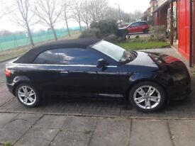 Black tinted Audi A3 convertible, 08 plate