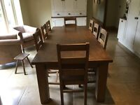 Bespoke solid oak farmhouse kitchen table with 8 chairs.