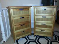 Pair of matching Bamboo 4 draw storage chests