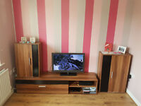Modern Living Room Furniture Set TV Unit. Cabinet, TV Stand, Cupboard and 2 Wall Shelves.