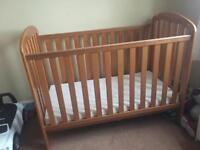 nursery set furniture cot bed, changing unit, wardrobe