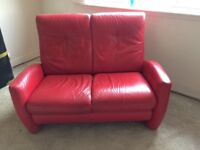 Red leather sofas 2 and 3 seater