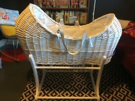 Moses Basket and Rocker (all white) for sale. All in perfect condition!