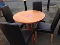 Homebase pine table and 4 faux leather chairs vgc