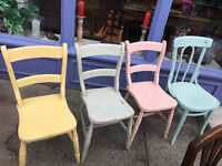 Adorable Set of 4 Antique Rustic Painted Country/Farmhouse Hardwood Dining Kitchen Chairs