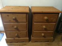 2x great matching solid pine bedside/cabinets with drawers,vgc