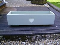 Wooden garden trough / window box with carved heart