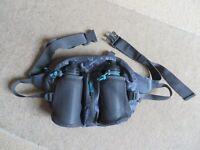 BRAND NEW: Lightweight (grey/aqua detail) waist bag with water bottles for running/walking/cycling