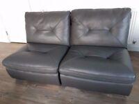 Premium leather, dark grey modular sofas