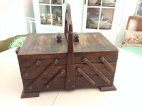 Vintage Cantilever dark wooden sewing box with handle 1950s