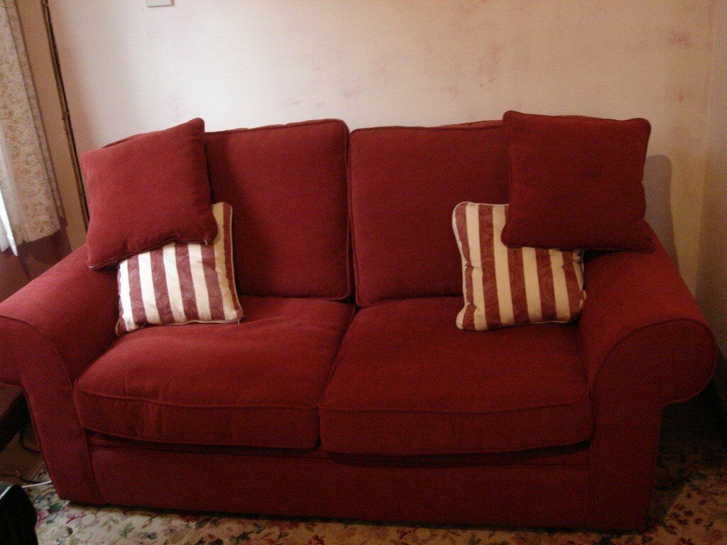 Burgundy Fabric Metal Action Double Sofa Bed With Cushions