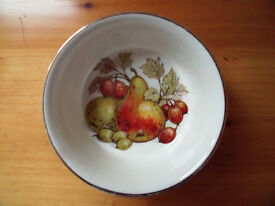 J Sadler & Sons round ceramic white dish, decorated on the inside base with fruit and leaves.