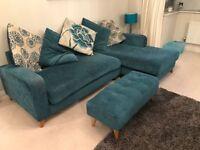 Sofa, 2 Armchairs, footstool