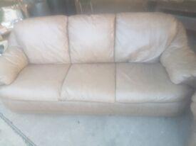 3+1 light brown leather sofa