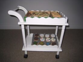 Children's white wooden 2 tier kitchen trolley