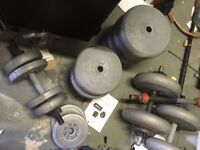 Plastic weights and bench. Buyer to collect