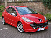 RARE MODEL!2007 PEUGEOT 207 1.6 GTi THP 175 BHP 3dr,HALF LEATHER BUCKET SEATS,1 YEAR MOT,AA WARRANTY