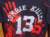 Skinny fit T.shirt top by Darkside sz Small Zombie Killer/survivor/blood splatter