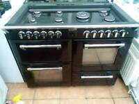 Stoves duel fuel range cooker in black with chrome handles 1100mm