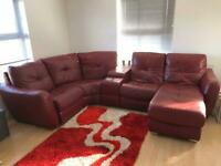 Leather corner sofa - red/burgundy