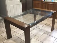 Glass and walnut kitchen/dining table
