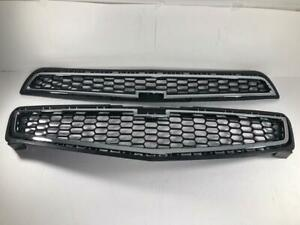 Chrome Front Bumper Mesh Upper Grill + Middle Grille For Chevrolet Malibu 2013
