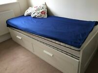 Two in one Bed w 2 drawers/2 mattresses BRIMNES for only £80. White (IKEA) Original price was £305