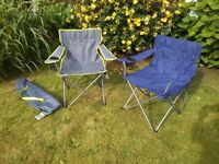 2 fold out chairs carry bag festival gig picnic excellent condition