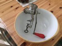 Vintage Baking Bowl and old mincer