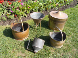 Copper / Brass Coal scuttle, Warming Pan. and various items