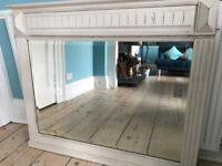Old Heavy Wood Framed Mirror