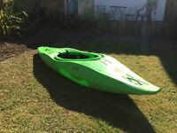 Tek Sport 240 Excess whitewater kayak with spray deck and paddle