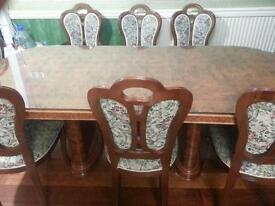 Dining table with custom made glass top