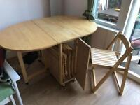 John Lewis wooden folding table with chairs