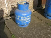4.5KG CALOR gas bottle, some in it, (weighs 8.5kg, empty 6/7kg) deposit on this is £45 from Calor!