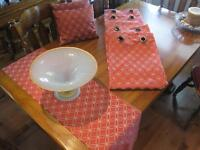 Two set of curtains, pillows, table runner and center piece