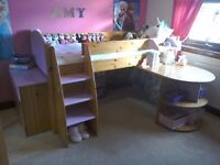Mid sleeper single bed with set of drawers and desk