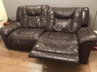 Leather recliner sofa Brown