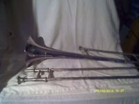 TROMBONE in SILVER PLATE in EXCELLENT CONDITION , SLIDES LIKE QUICK SILVER in a CASE ++