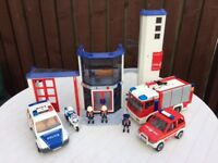 Play Mobil fire station and vehicles
