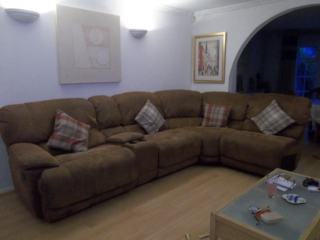 Large L Shaped Sofa Tan In A Suede Fabric And Matching Bed Seat