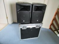 Electrovoice EV SX80 Passive PA Speakers with Fitted Flight Case and Stand Mounts