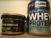 Whey protein and Creatine monohydrate ( Box opened)