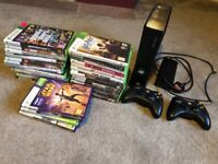 Xbox 360 S with controllers & 30 games