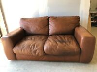 CAN DELIVER- BROWN LEATHER 2 SEATER SOFA