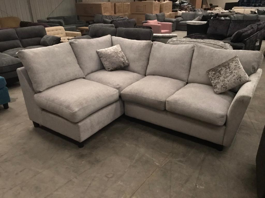 Brand new silvery grey corner sofa