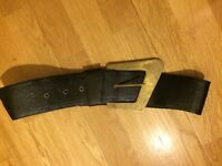 Genuine leather belt, black