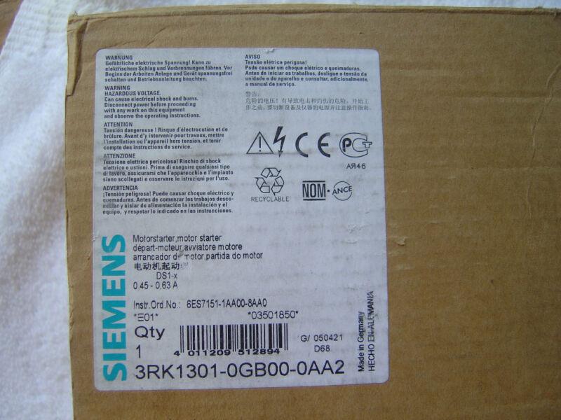 NIB Siemens Motor Starter    3RK1301-0GB00-0AA2